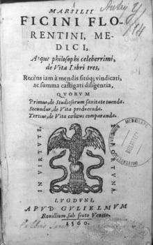 Frontespizio del De triplici vita del 1560