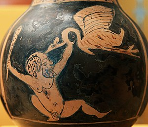 Pygmy (Greek mythology) - A Pygmy fights a crane, Attic red-figure ''chous'', 430–420 BC, National Archaeological Museum of Spain