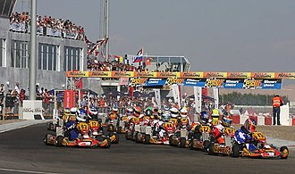 Road racing - Karts competing in a road race