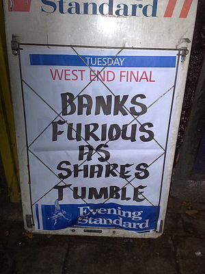English: Banks Furious As Shares Tumble, Eveni...