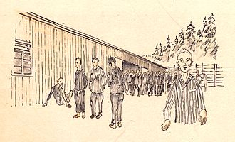 "Flossenbürg concentration camp - ""In front of block 23"" - drawing by Stefan Kryszak"