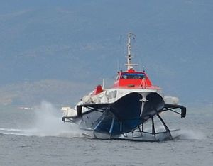 Hellenic Seaways - Hydrofoil Flying Dolphin XVII at high speed level