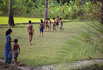 Football in Bangladesh - Rural children playing football in a Bangladeshi village.