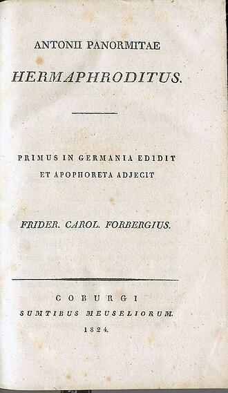 Friedrich Karl Forberg - Hermaphroditus (1824), title page.