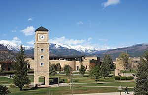 Fort Lewis College - The La Plata Mountains rise behind the Fort Lewis College campus in Durango, Colorado