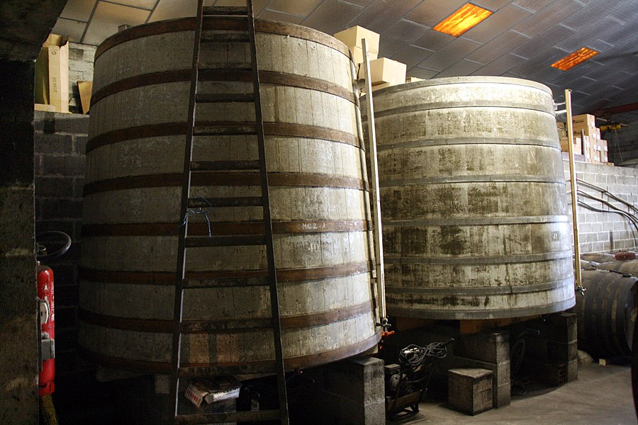 """Two """"Foudres"""", a kind of large barrels, used in a wine farm producing Cognac, in Cherves de Cognac, Charente, Poitou-Charentes, France."""