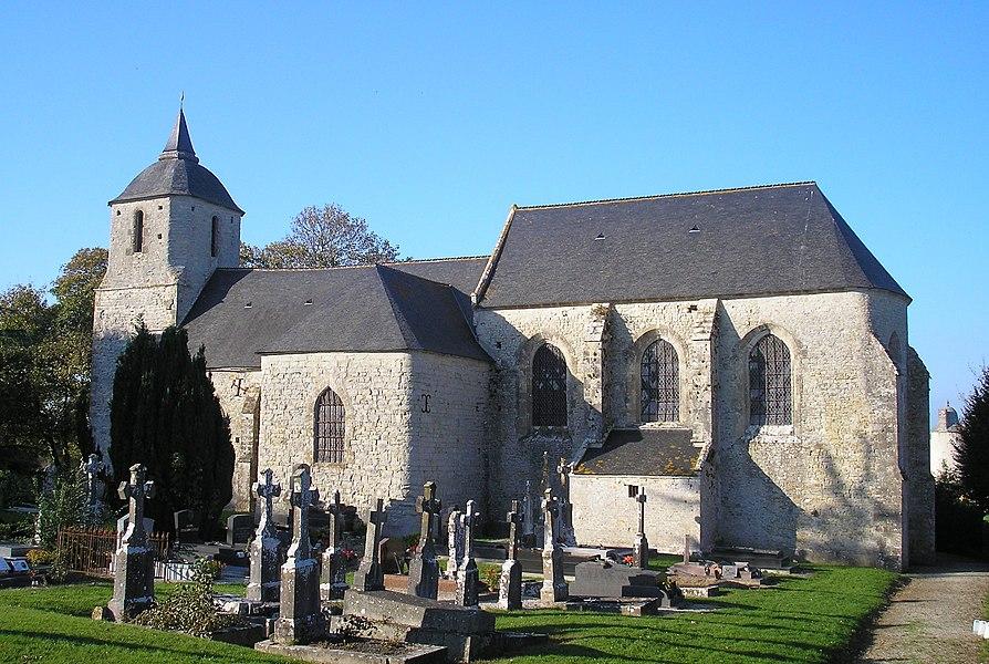 Sébeville (Normandie, France). L'église Saint-Pierre-Saint-Paul.