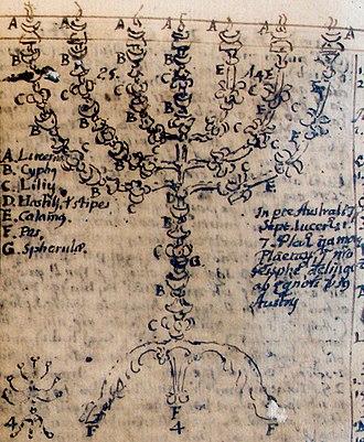 Menorah (Temple) - Fray Juan Ricci (1600–1681), sketch of the menorah as described in Exodus, undated. Biblioteca Statale del Monumento Nazionale di Monte Cassino, cod. 469, fol. 199v
