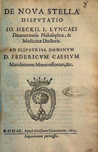 Johannes van Heeck - Frontespiece of 'De Nova Stella Disputatio' by Johannes van Heeck, 1605
