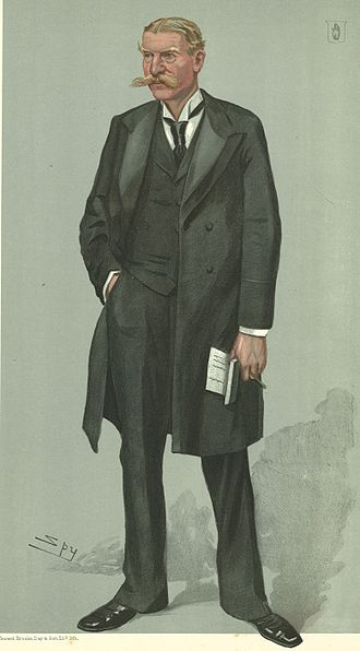 """Alexander Fuller-Acland-Hood, 1st Baron St Audries - """"1st Conservative Whip"""". Fuller-Acland-Hood as caricatured by Spy (Leslie Ward) in Vanity Fair, November 1906."""