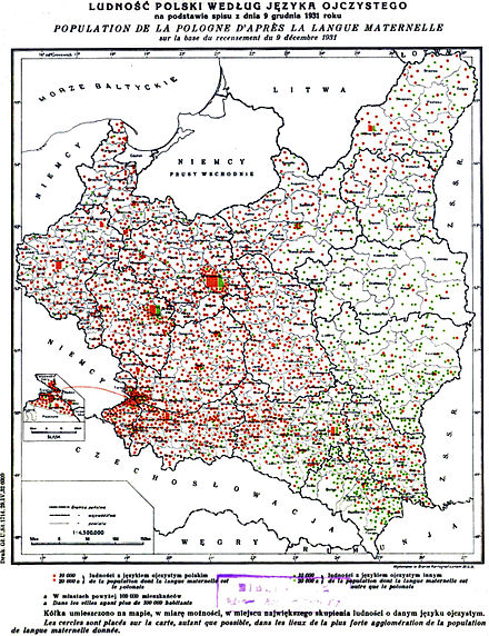 Contemporary map showing language frequency in 1931 across Poland; red colour: more than 50% native Polish language speakers; green colour: more than 50% native language other than Polish, including Yiddish, Hebrew, Ukrainian, Belarusian, Russian and less frequent others GUS languages1931 Poland.jpg