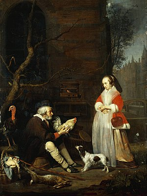 Drentse Patrijshond - The Poultry seller by Gabriel Metsu, 1662