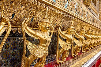 Wat Phra Kaew - External decorations of the ubosot, the main building of Wat Phra Kaew