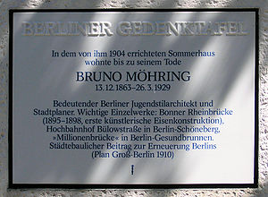 Bruno Möhring - Image: Gedenktafel Bruno Möhring Str 14a (Marienf) Bruno Möhring