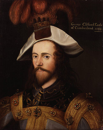 Battle of the Berlengas (1591) - George Clifford, 3rd Earl of Cumberland, after Nicholas Hilliard, c. 1590.