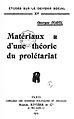 Georges Sorel, Matériaux théorie prolétariat couv.jpg