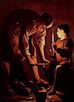 József, a munkás és a világító Jézus