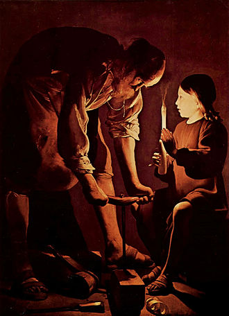 Unknown years of Jesus - Jesus in the workshop of Joseph the Carpenter, by Georges de La Tour, 1640s.
