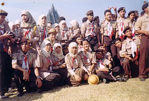 Gerakan Pramuka Indonesia - Indonesian Scouts at Prambanan (8th National Rover Moot) in 2003