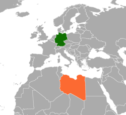 Map indicating locations of Germany and Libya
