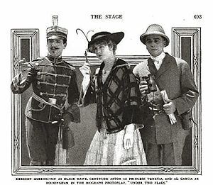 Al Ernest Garcia - Allan Garcia (right side) with Herbert Barrington and Gertrude Astor in Under Two Flags (1915)