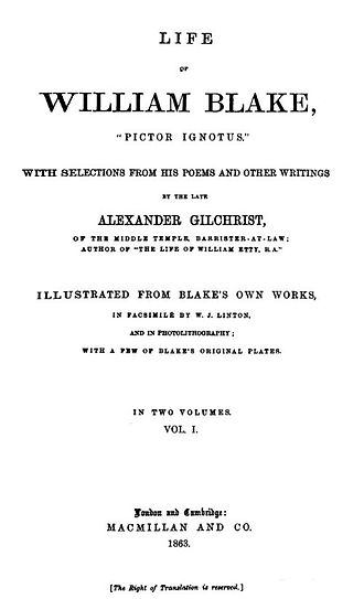"Alexander Gilchrist - Gilchrist: ""Life of William Blake"" 1863, title page"