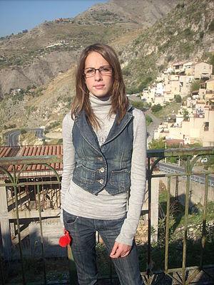 Waistcoat - Woman in a modern denim waistcoat.