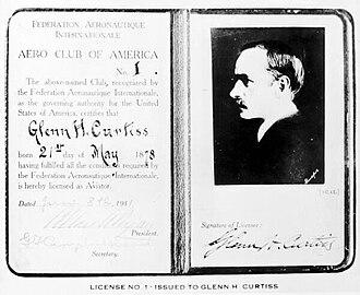 Aero Club of America - Image: Glenn Curtiss's pilot license