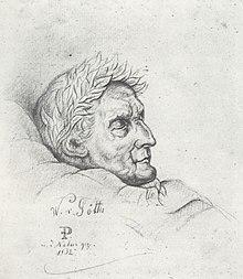 Der tote, mit Lorbeeren bekränzte Goethe im Sterbebett am 26. März 1832. Naturgetreue Bleistiftzeichnung Friedrich Prellers des Älteren. (Quelle: Wikimedia)