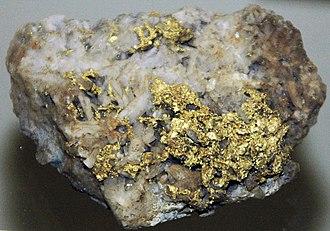 North Star Mine and Powerhouse - Gold on quartz, North Star Mine