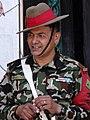 Gorkha (Gurkha) Guard outside Hanuman Dhoka - Kathmandu - Nepal (13443965384).jpg
