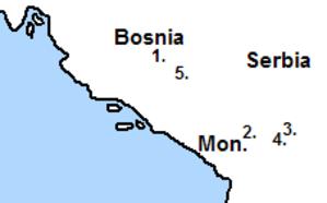 Bosnian uprising (1831–32) - 1. Travnik, 2. Peć, 3. Pristina, 4. Štimlje, 5. Sarajevo.