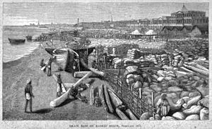 Great Famine of 1876–78 -  Grain destined for export stacked in Madras beaches (February 1877)