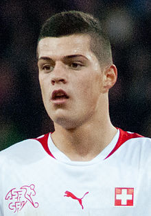 Granit Xhaka - Switzerland vs. Argentina, 29th February 2012 (cropped).jpg