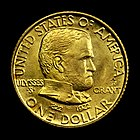 Grant Memorial gold dollar with star