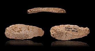 Prehistory of Southeastern Europe - Aurignacian double edged scraper on blade - 3 views of the same object.