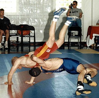 Greco-Roman wrestling - Throws of grand amplitude, such as is seen here, can win entire periods in Greco-Roman wrestling.