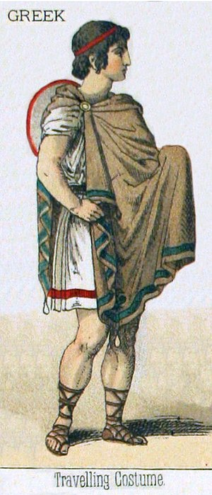 Clothing in ancient Greece - Greek travelling costume, incorporating a chiton, a chlamys, sandals, and a petasus hat hanging in the back.