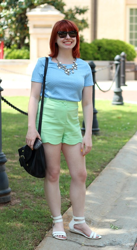 Green Scalloped Shorts, Baby Blue Top, and White Sandals (17396821965) (cropped)