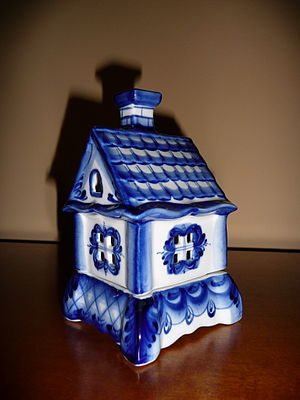Gzhel - Gzhel-made candle luminary in the form of a house