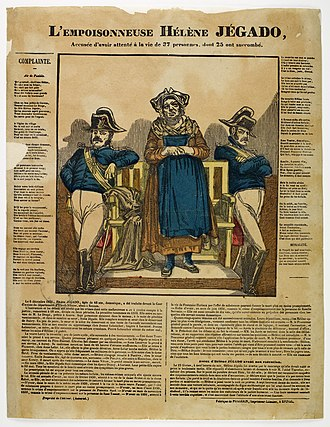 Hélène Jégado - Hélène Jégado at her trial, historical print (ca. 1851)