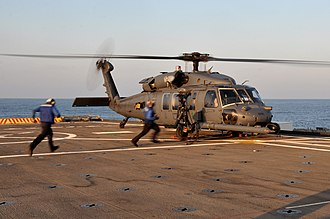 56th Rescue Squadron - Image: HH 60G 56th RS on USS Ponce (LPD 15) off Libya 2011