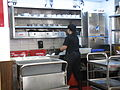 HK Sai Ying Pun Lin Heung Kui restaurant cleaning lady n kitchen Aug-2012.JPG