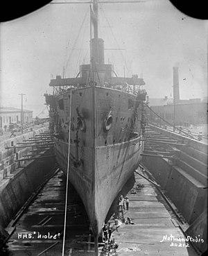 HMS Niobe (1897) - Niobe in drydock at Halifax