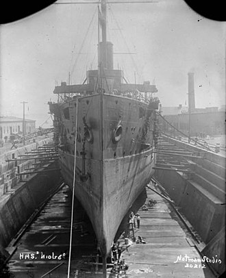 HMS Niobe (1897) - Niobe in drydock at Halifax