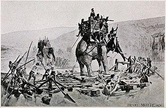 Battle of Rhone Crossing - Hannibal's army crossing the Rhone