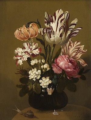 Hans Gillisz. Bollongier - Hans Gillisz. Bollongier, Flower Piece, Frans Hals Museum, 1644. The top flower was always the most expensive one and in this bouquet it is the tulip Semper Augustus.