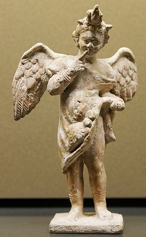 Harpocrates - Harpocratic Eros, terracotta figurine made in Myrina, Greece, c. 100–50 BCE. (Louvre)