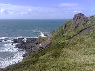 Hartland Point - Hartland Point lighthouse. Lundy Island can be seen on the horizon