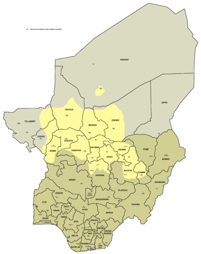 Hausa-speaking areas in Nigeria and Niger.
